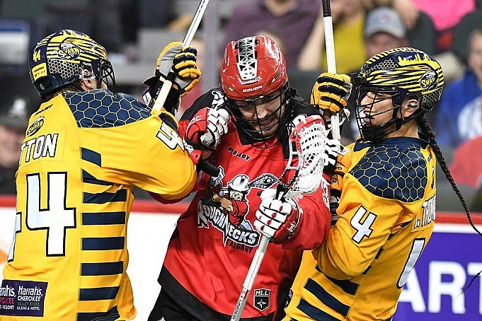 NLL Media Poll Georgia Swarm vs Calgary Roughnecks 2017 Photo: Candace Ward