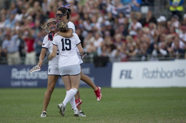 USA's Kelly Rabil celebrates scoring at the Rathbones Women's Lacrosse World Cup, at Surrey Sports Park, Guildford, Surrey, UK, 16th July 2017.