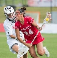 Canada's Alie Jimerson tries to avoid USA goal keeper, Devon Wills, at the 2017 FIL Rathbones Women's Lacrosse World Cup at Surrey Sports Park, Guilford, Surrey, UK, 15th July 2017