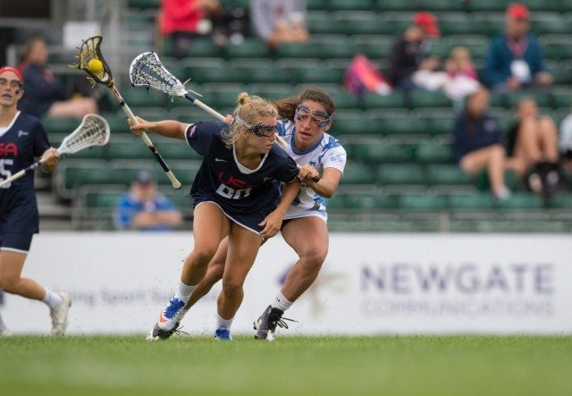 United States USA's Brooke Griffin challenges with Israel's Leah Israel at the 2017 FIL Rathbones Women's Lacrosse World Cup, at Surrey Sports Park, Guildford, Surrey, UK, 19th July 2017.
