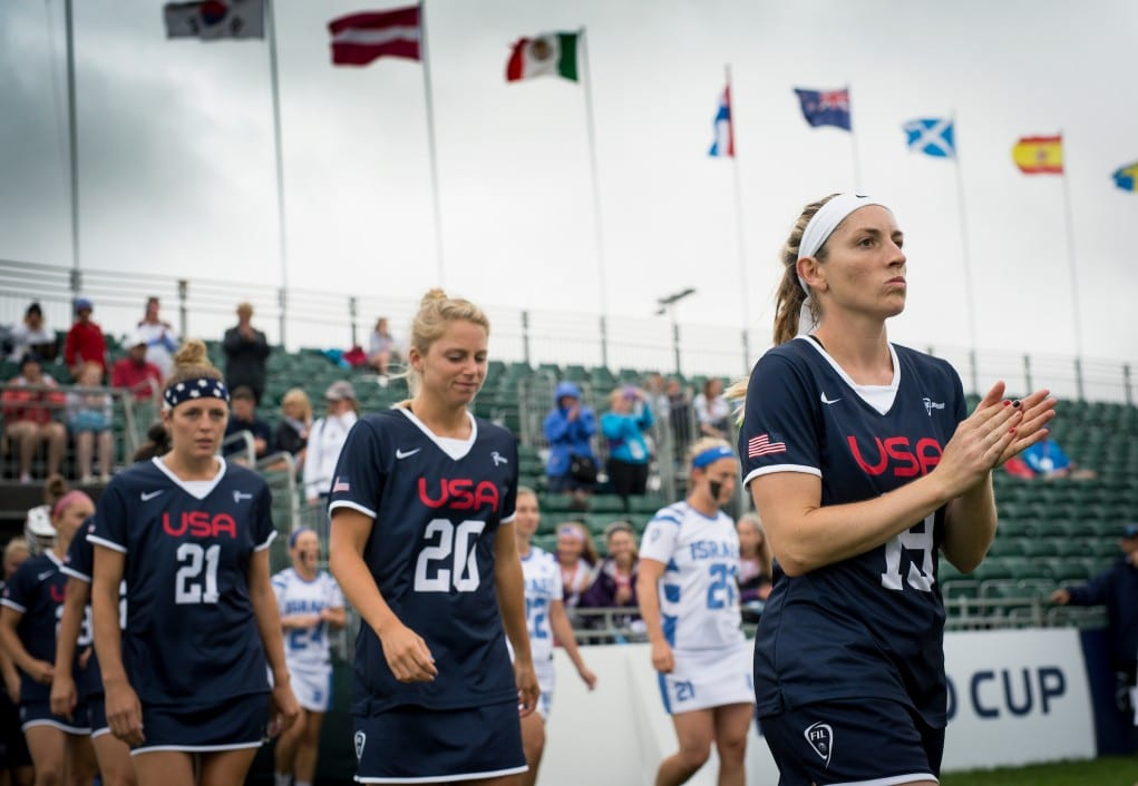 USA's Sarah Bullard walks out for the game against Isreal in the Quarter Finals at the 2017 FIL Rathbones Women's Lacrosse World Cup, at Surrey Sports Park, Guildford, Surrey, UK, 19th July 2017.