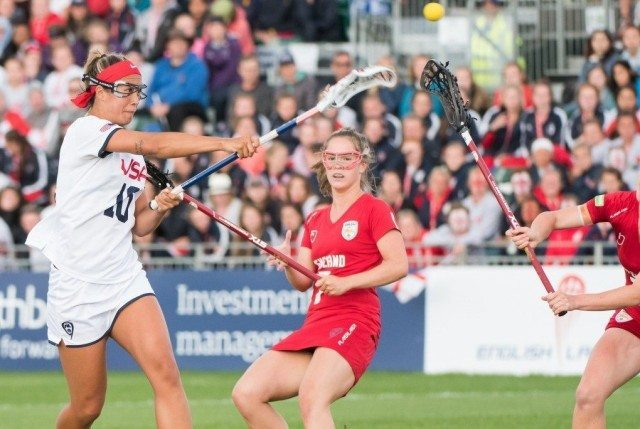 USA's Alex Aust shoot at the 2017 FIL Rathbones Women's Lacrosse World Cup at Surrey Sports Park, Guilford, Surrey, UK, 15th July 2017
