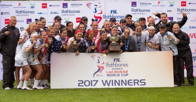 Team USA celebrates winning the World Cup after defeating Canada 10 -5 2017 FIL Rathbones Women's Lacrosse World Cup, at Surrey Sports Park, Guildford, Surrey, UK, 22nd July 2017.