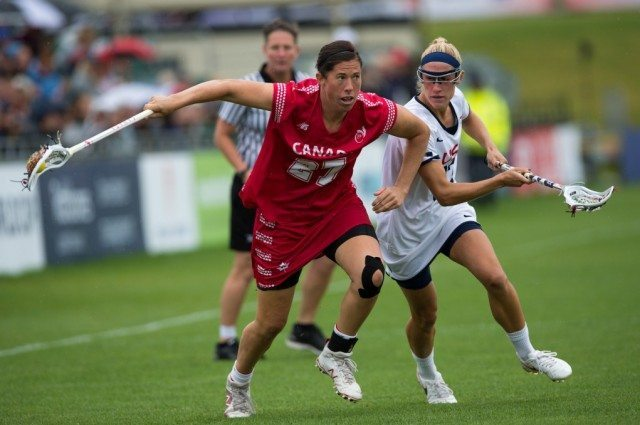 Team USA's Becky Block challenges with Canada's Dana Dobbie during the World Cup Final at the 2017 FIL Rathbones Women's Lacrosse World Cup, at Surrey Sports Park, Guildford, Surrey, UK, 22nd July 2017.