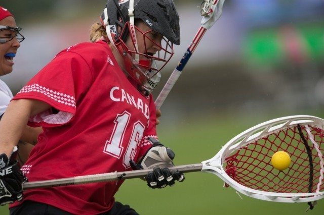 Canada's Katie Donohoe during the World Cup Final at the 2017 FIL Rathbones Women's Lacrosse World Cup, at Surrey Sports Park, Guildford, Surrey, UK, 22nd July 2017.