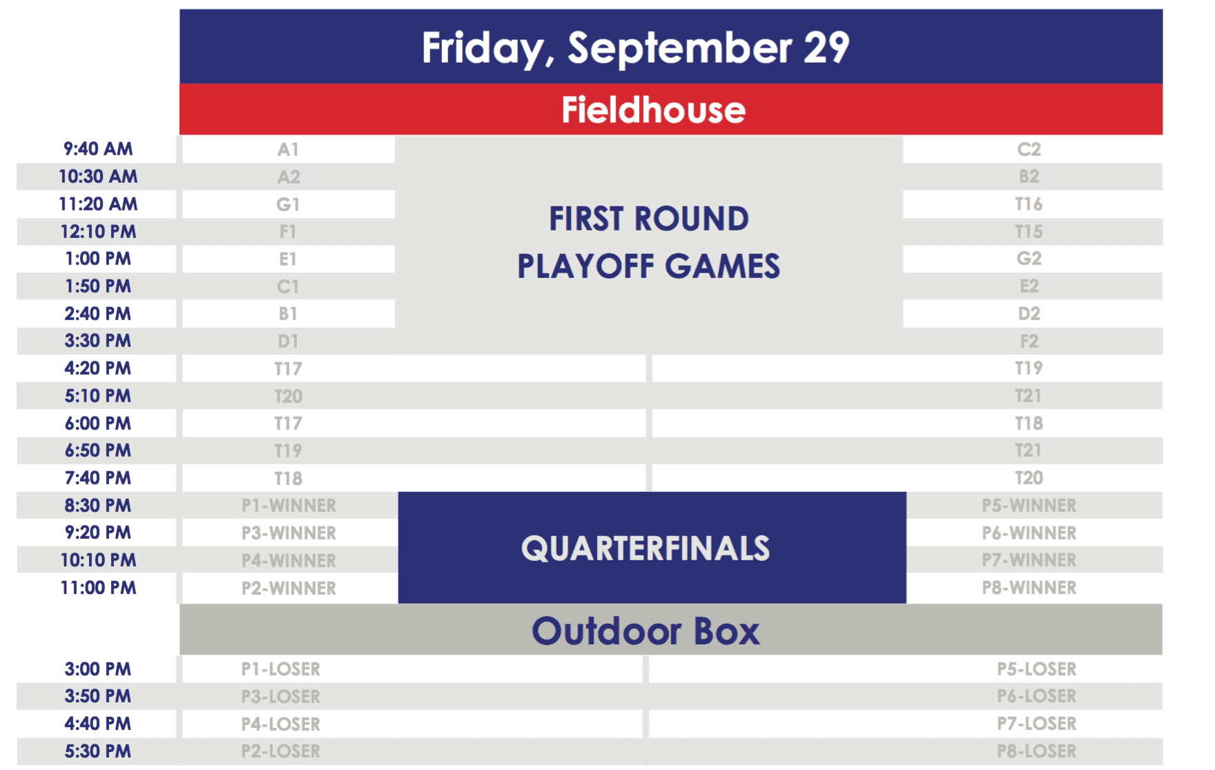 2017 LASNAI Schedule - Friday, September 29