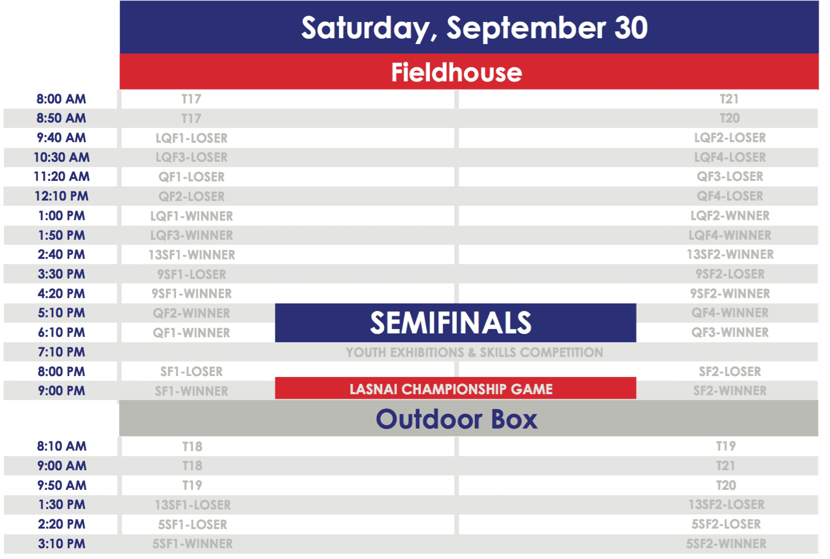 2017 LASNAI Schedule - Saturday, September 30