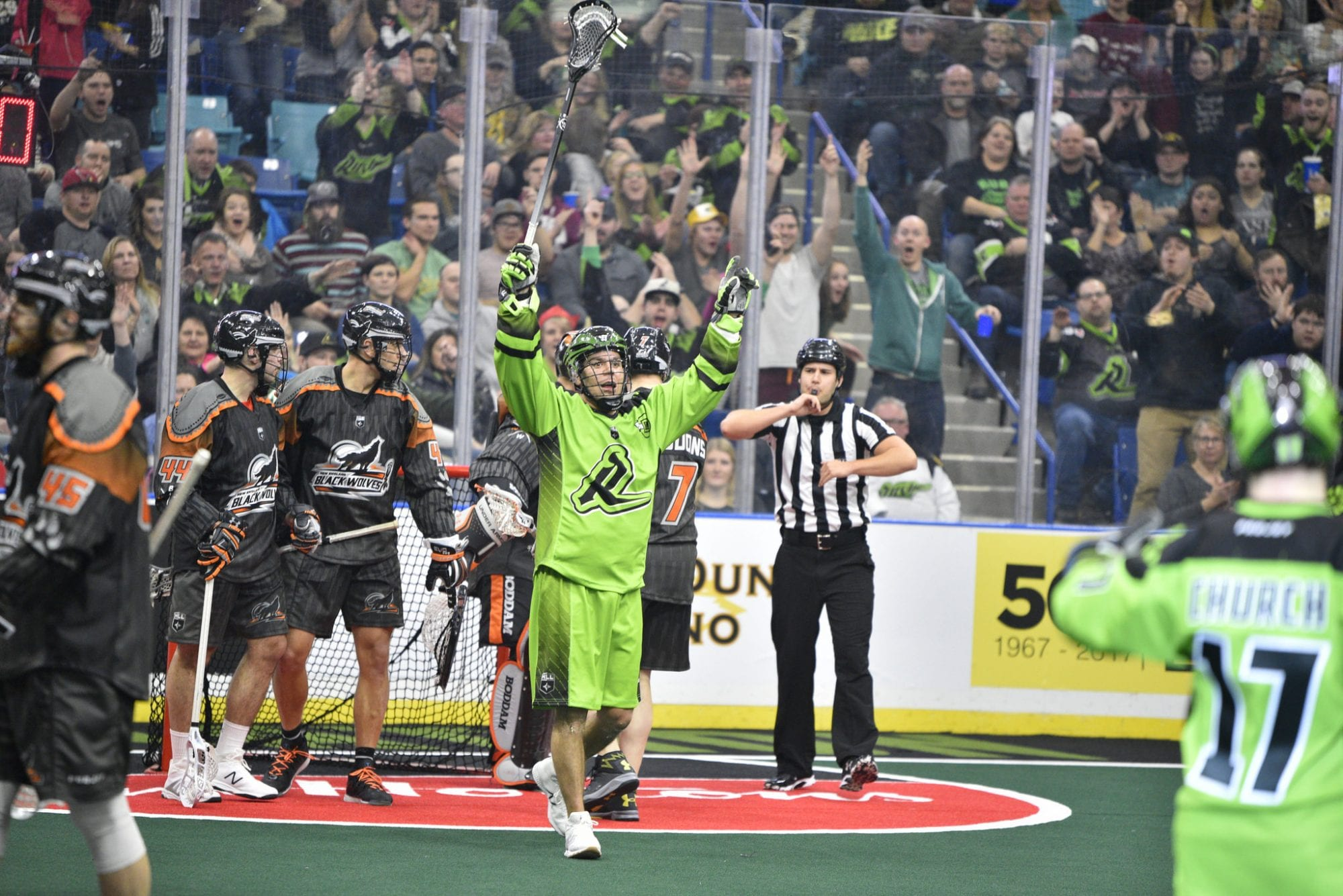 Jeff Shattler New England Black Wolves Saskatchewan Rush NLL 2018