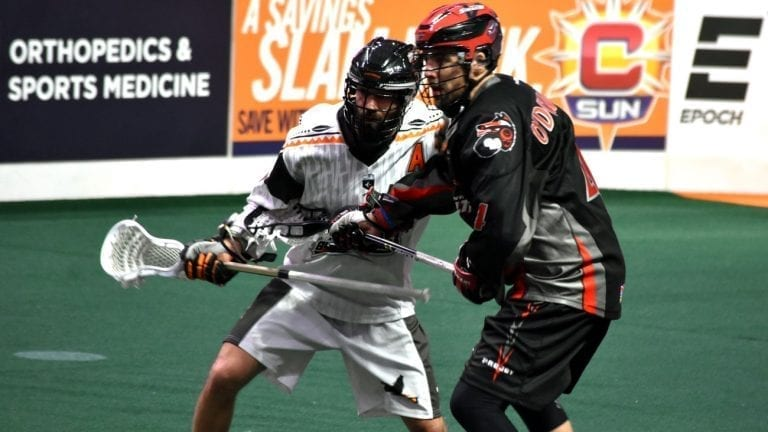 Vancouver Stealth New England Black Wolves Chris O'Dougherty NLL 2018 Photo: Ryan Conwell