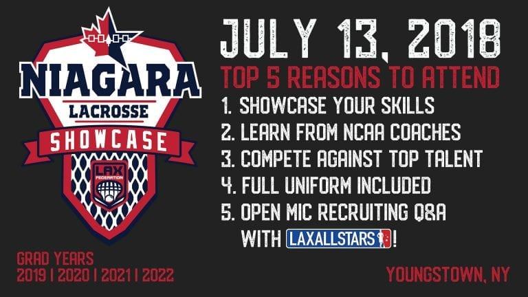 Niagara Lacrosse Recruiting Showcase: Spots Open July 13
