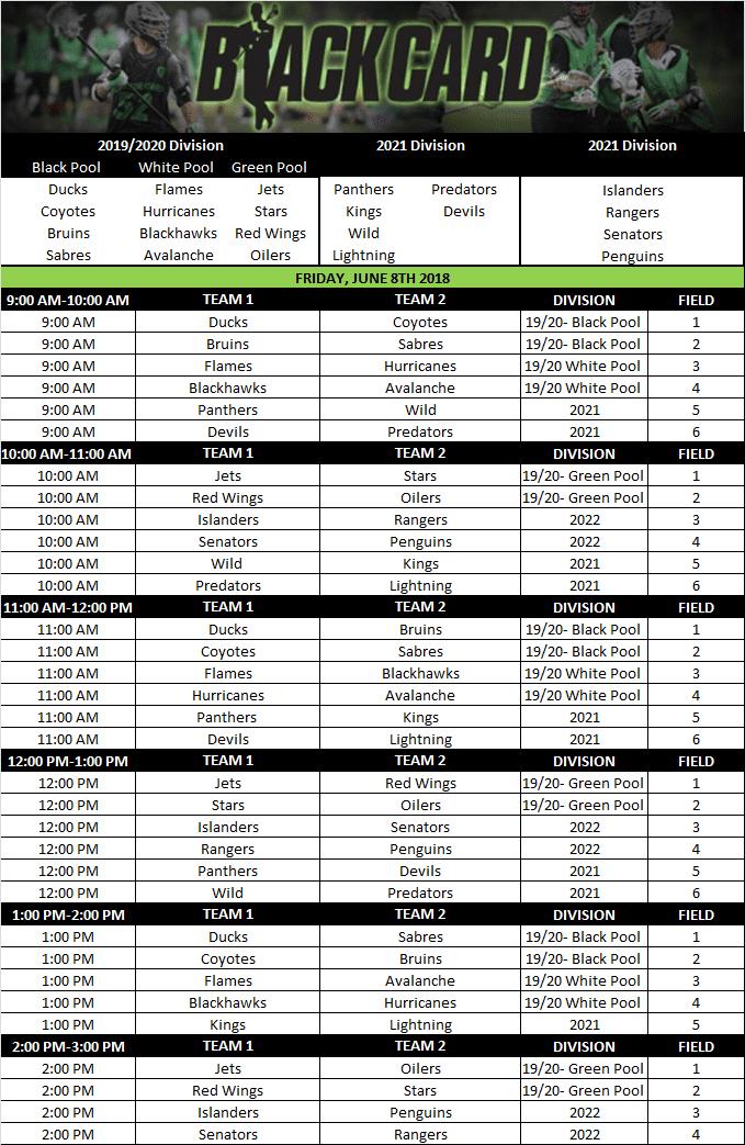 2018 Black Card Schedule