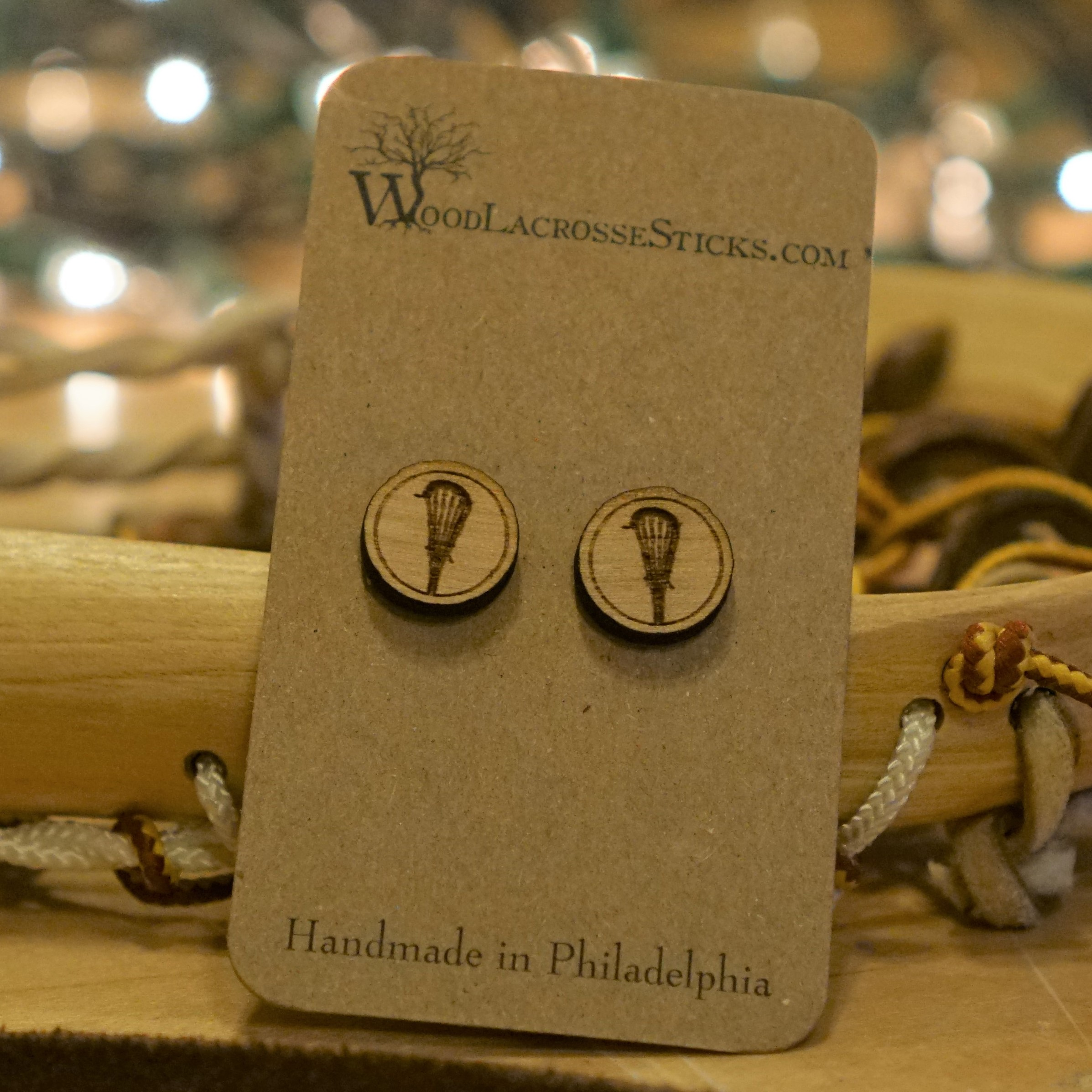 Handmade Round Wood Lacrosse Stick Earrings