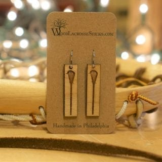 Handmade Classic Wood Lacrosse Stick Earrings