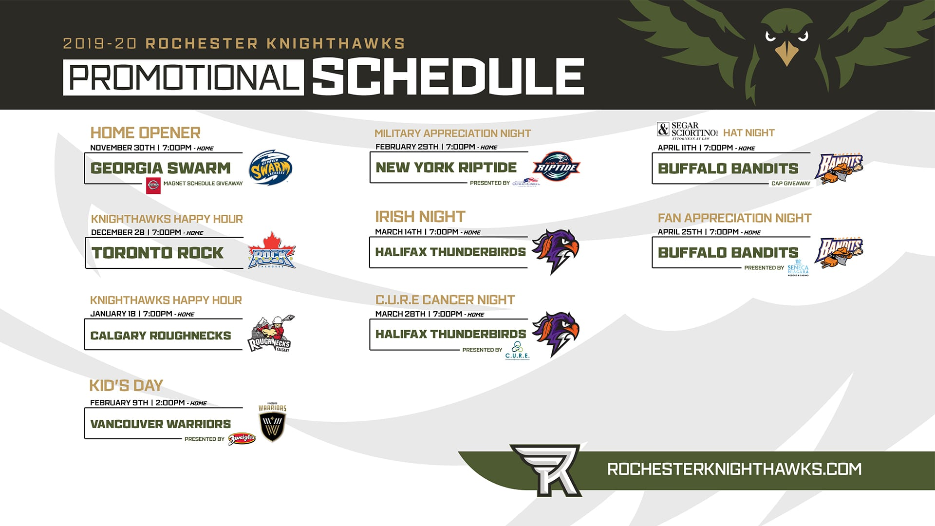 rochester knighthawks theme nights nll national lacrosse league
