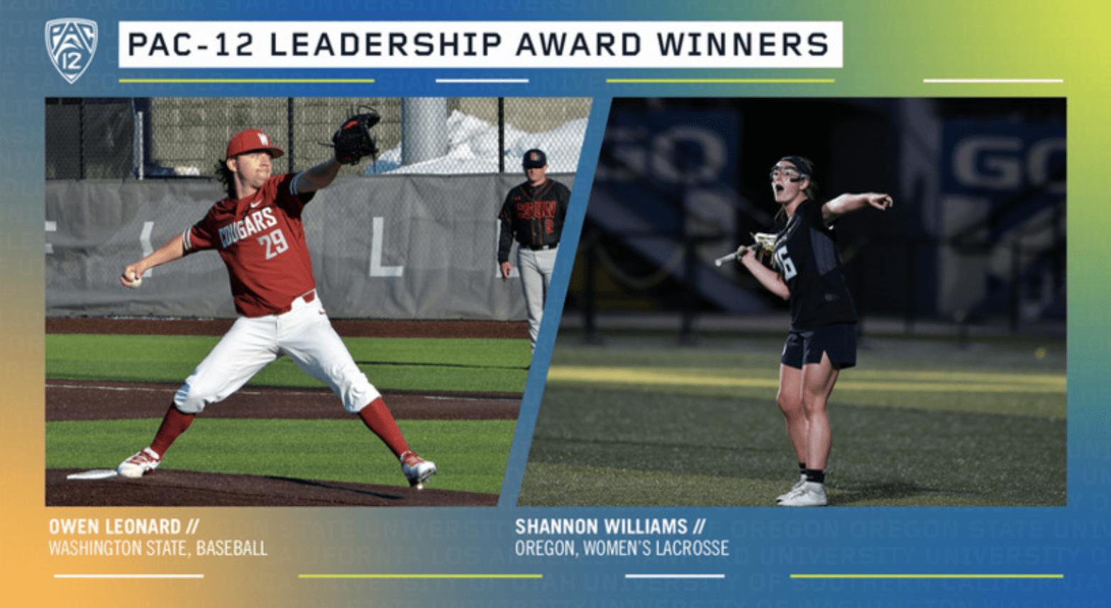 pac-12 leadership award winners 2018-2019 shannon williams oregon women's lacrosse