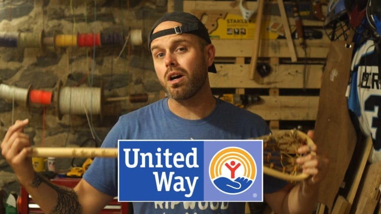 united way charity stick wood lacrosse sticks justin skaggs