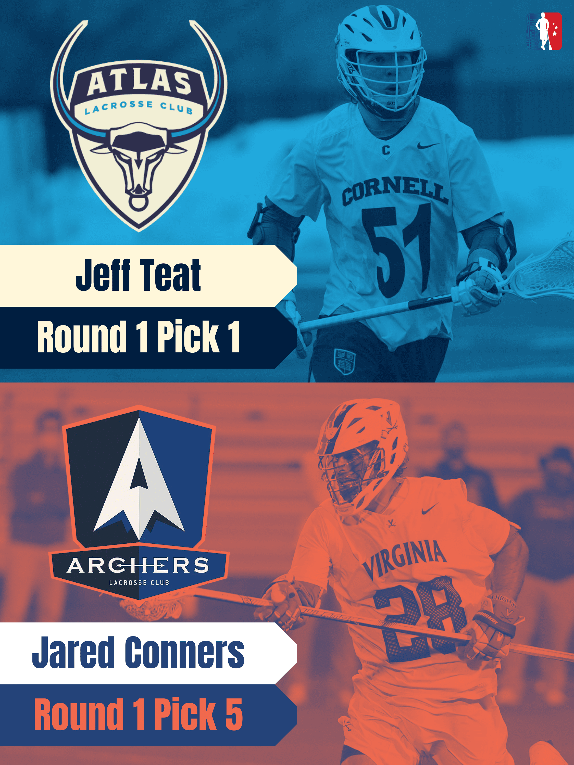 Jeff Teat Jared Conners 2021 PLL Rookie Spotlights